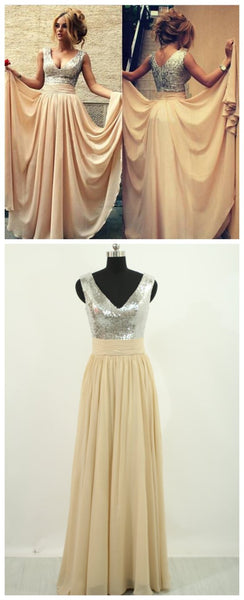 Long Sparkly V-neck Sleeveless Charming A-line Floor Length Evening Party Prom Dress,PD0080
