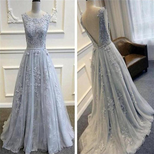 Long Custom Gray V-Back Scoop Tulle With Lace Appliques Party Prom Dresses Online,PD0083