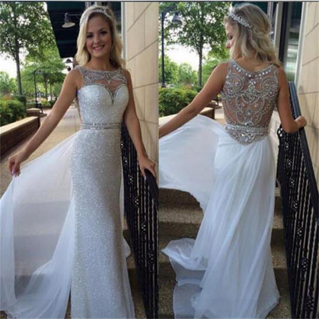Long Sheath Sleeveless Sparkly Elegant Gorgeous Wedding Party  Dresses, WD0127