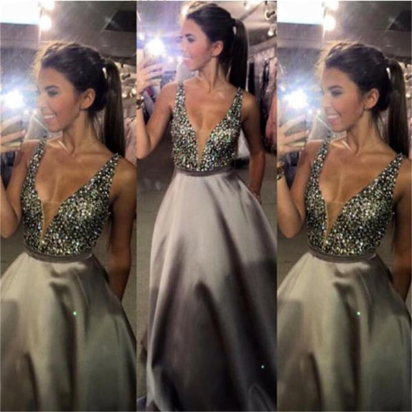 2017 Custom Charming V-neck Sexy Popular A-line Sparkly Ball Gown Long Prom Dresses,PD0095