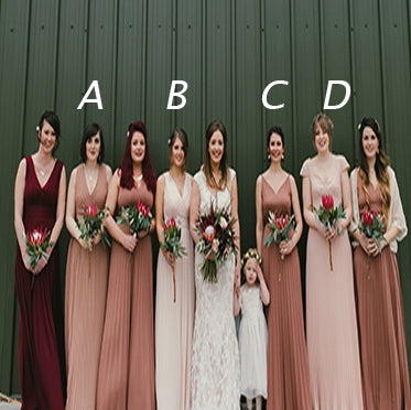 Simple V-neck  Mismatched Different Color Pleating Chiffon Long Bridesmaid Dresses, AB1179