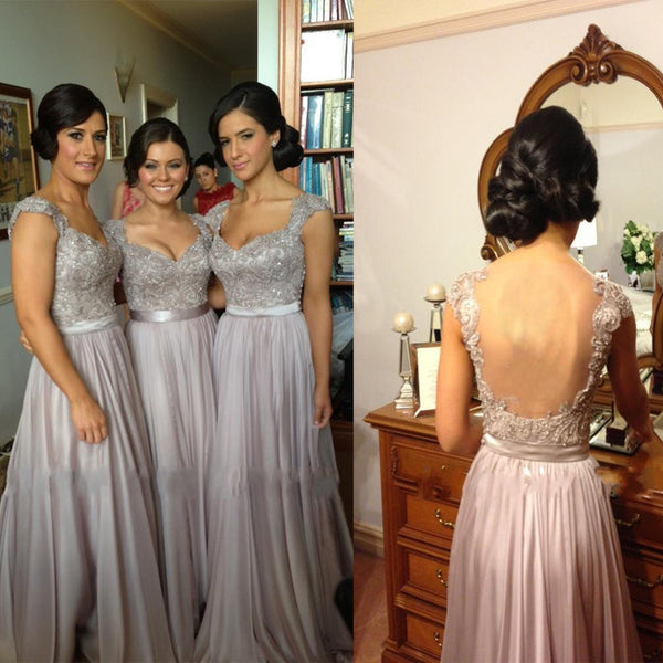 Elegant Long Sleeveless V-neck Low Open Back Sash Lace Appliques Beads Bridesmaid Dresses, AB1156
