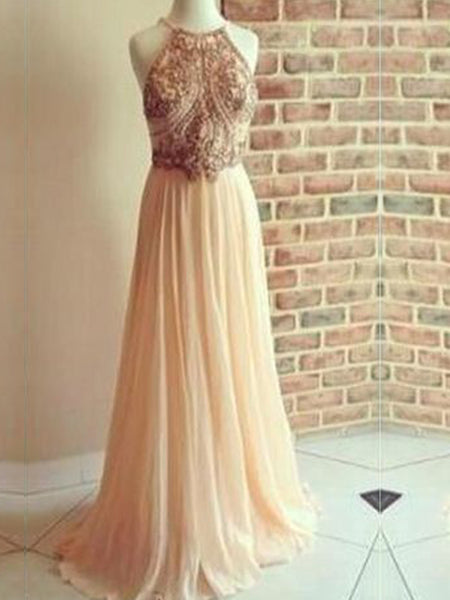 Backless A-line Chiffon Floor Length Sparkly Popular Cocktail Prom Dresses PD0159