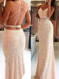 Backless Sexy Sequined Mermaid Spaghetti Straps Evening Party Formal Prom Dress,PD0051