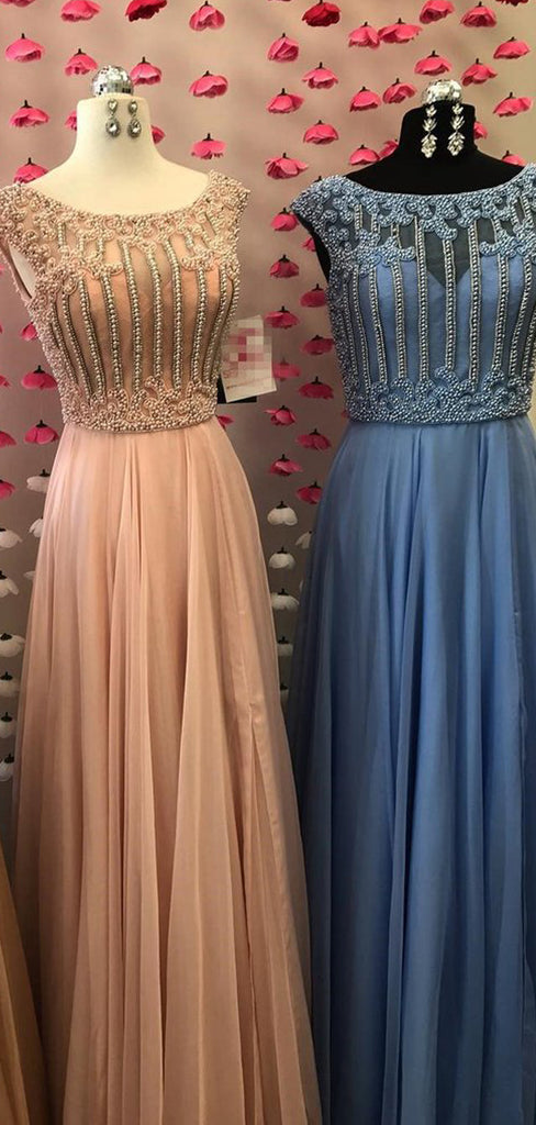 Beading Scoop Neck Cap Sleeves Chiffon A-line  Prom Dresses ,PD00131