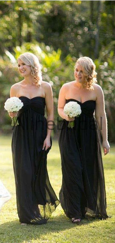 Black Chiffon Sweetheart Long Country Bridesmaid Dresses AB4201