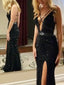 Black Bead Sexy Mermaid Criss-cross Evening Prom Dresses,PD00145