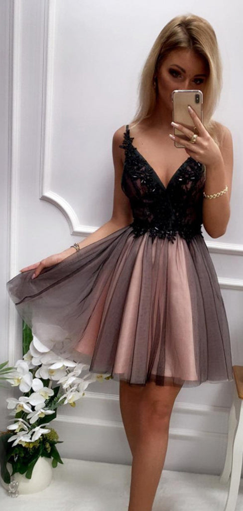 Black Beading Lace Top Brown Tulle Backless Homecoming Dresses,HD0070