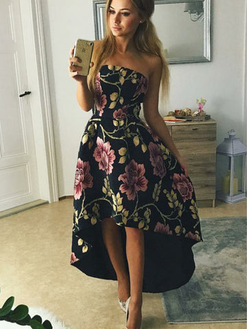 products/Black_Floral_Prints_Satin_High_Low_Strapless_Prom_Dresses_PD00315-1.jpg