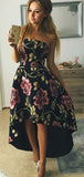 Black Floral Prints Satin High Low Strapless Prom Dresses,PD00315