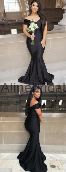 Black Jersey Mermaid Off Shoulder Simple Long Bridesmaid Dresses, AB4046