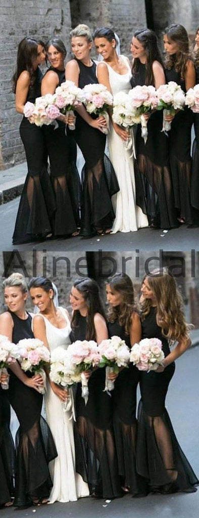 Black Jersey Organza Mermaid High Low Unique Long Bridesmaid Dresses, AB4083