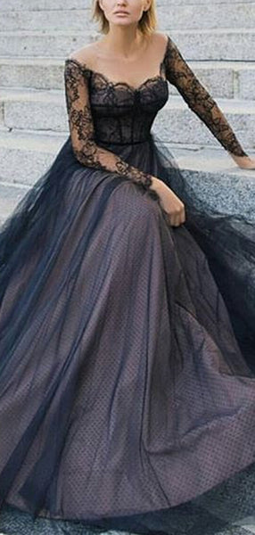 Black Lace Long Sleeve Off Shoulder Lace Up Back Prom Dresses.PD00230