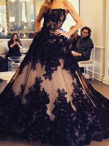products/Black_Lace_Nude_Strapless_Ball_Gown_Princess_Prom_Dresses_PD00296-1.jpg