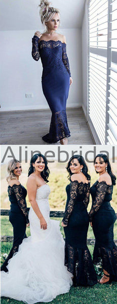 Black Lace Off Shoulder High Low Mermaid Bridesmaid Dresses, AB4038
