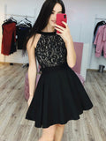 Black Lace Satin Halter Simple Cheap Homecoming Dresses,HD0028