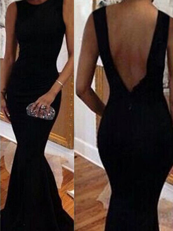 New Black Mermaid Open Back Simple Sexy Elegant Evening Party Dress. PD0211