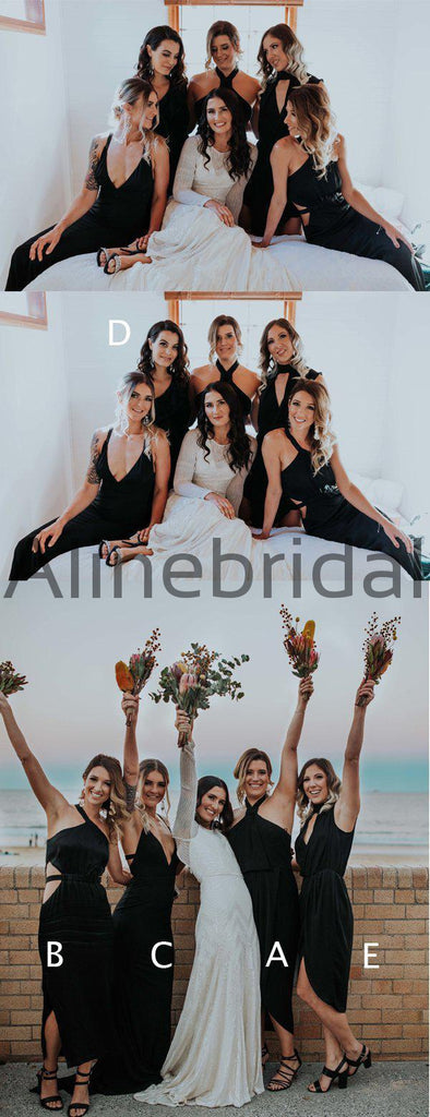 Black Mismatched Sheath Simple Long Bridesmaid Dresses, AB4109