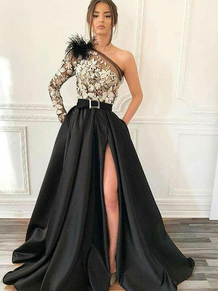Black One Shoulder Long Sleeve Lace Satin