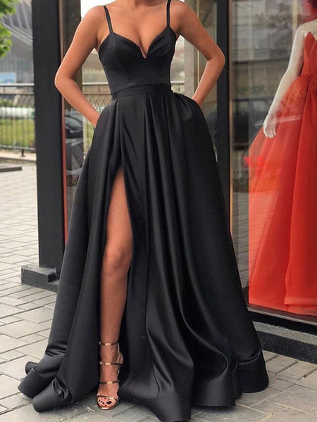 aa95a711600 FEATURED PRODUCTS. Your product s name.  200.00. Black Satin Spaghetti  Strap Slit Sexy Prom Dresses ...