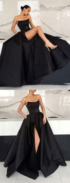 Black Satin Strapless Pockets Ball Gown Formal Prom Dresses,PD00153