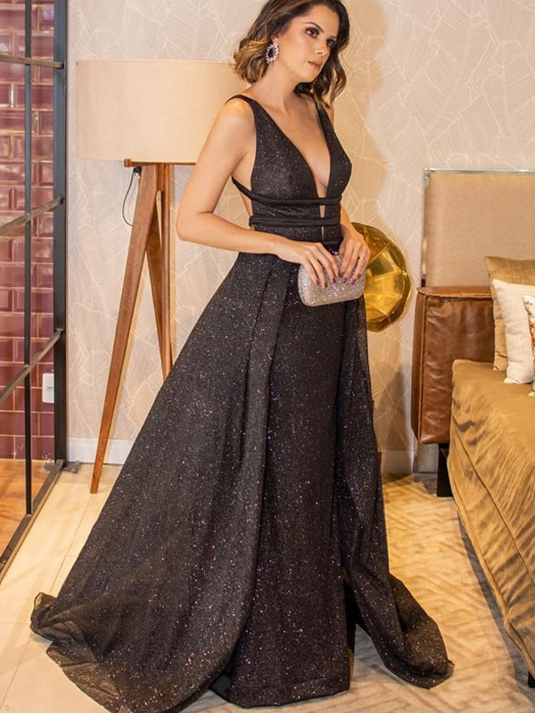 Black Sequin Backless Elegant Prom Dresses.PD00258