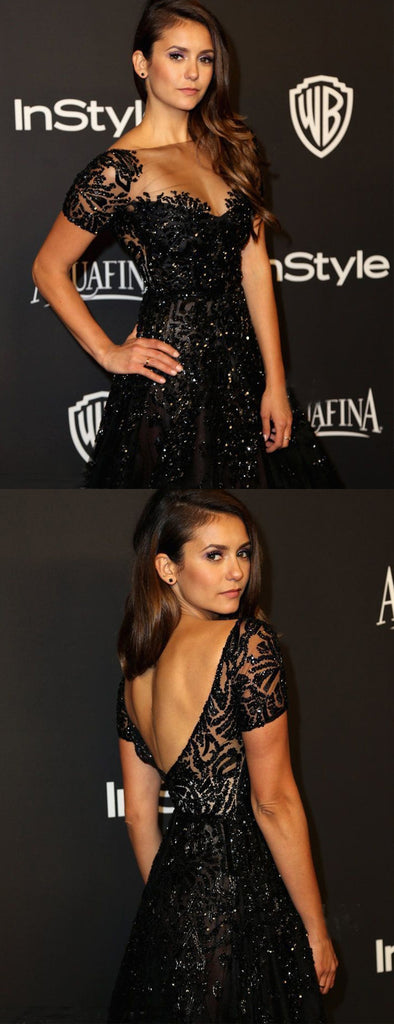 Black Sequin Lace Beading Short Sleeve A-line Formal Prom Dresses.PD00244