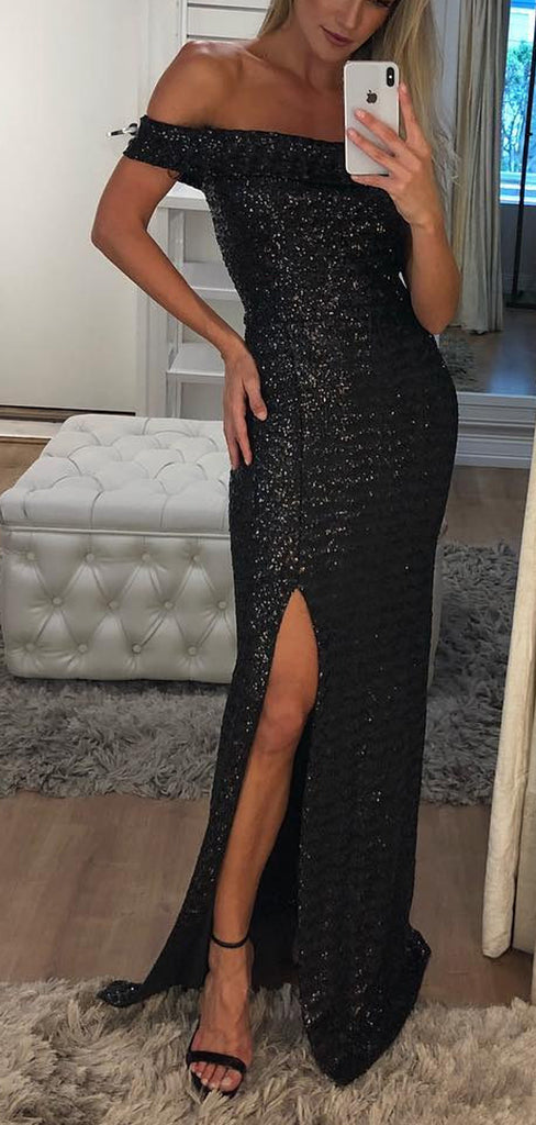 Black Sequin Off Shoulder Sheath With Slit Long Prom Dresses,PD00340