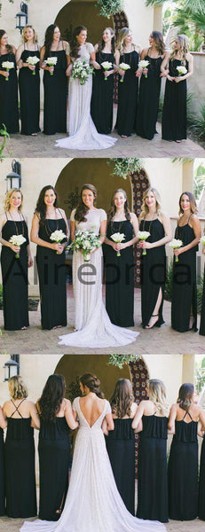 Black Spaghetti Strap With Side Slip Long Bridesmaid Dresses, AB4111