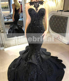 Black Sparkly Appliques With Beads Sexy Mermaid Evening Party Prom Dresses, PD00096