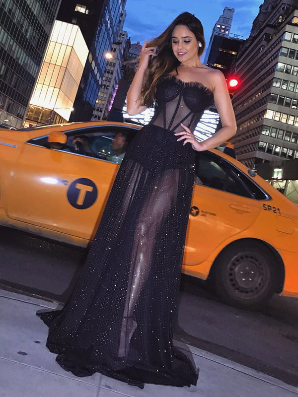 Black Tulle Illusion Sparkly Strapless Sexy Evening Party Prom Dresses.PD00243