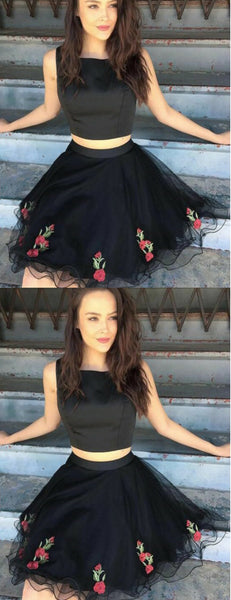 Black Two Piece Tulle Embroidery Sleeveless Homecoming Dresses,HD0034