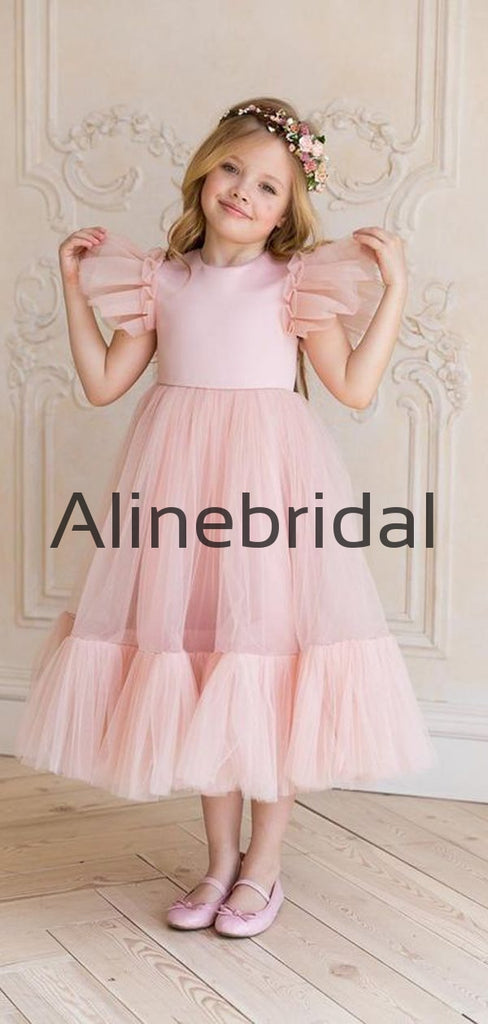 Blue Pink Tulle Cute Cheap Flower Girl Dresses FGS147