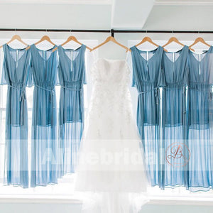 Blue Chiffon V-neck Simple Beach Wedding Bridesmaid Dresses With Splits, AB1226