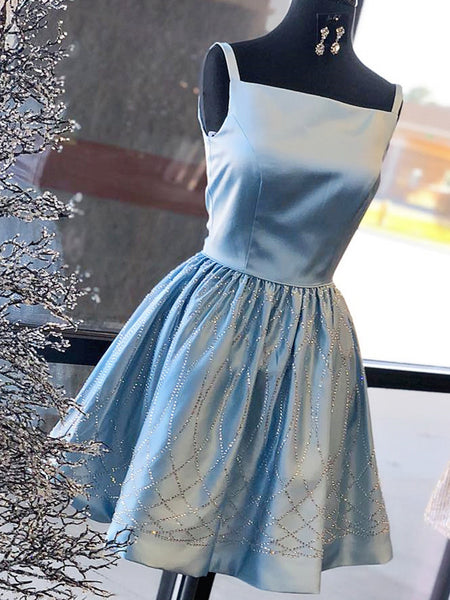 Blue Satin Beading Square Neck Sleeveless Homecoming Dresses ,HD0021