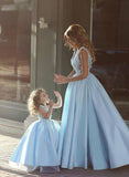 Blue Satin Lace Ball Gown Flower Girl Dresses, FGS054