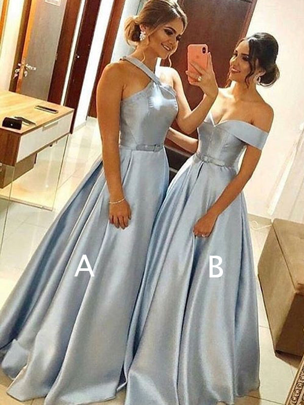 Blue Satin Mismatched A-line Halter Off Shoulder Prom Dresses For Teens.PD00277