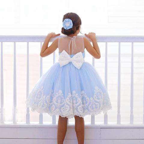 Blue Satin Off White Applique See Through Back Bow Knot Flower Girl Dresses, FGS104