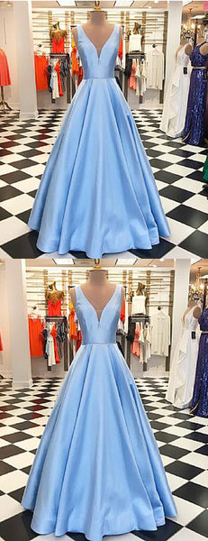 Blue Satin V-neck  Sleeveless A-line Elegant Prom Dresses,PD00353