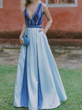 Blue Satin V-neck Sleeveless With Pockets A-line Prom Dresses,PD00323