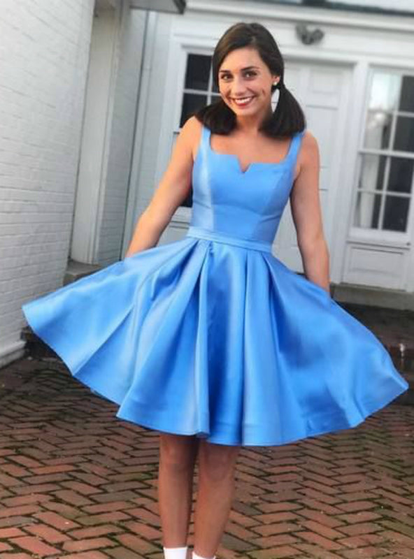 Blue Square Neckline Sleeveless Simple Satin Homecoming Dresses,BD00136