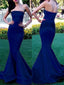 Long Royal Blue Strapless Simple Mermaid Sexy Evening Prom Gown Dresses.PD0220