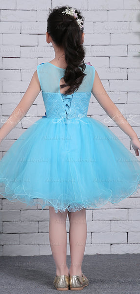 Blue Tulle Colorful Floral Applique Cute Flower Girl Dresses, FGS126
