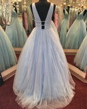 Blue Tulle Sequin Beading Sparkly Ball Gown Prom Dresses ,PD00135