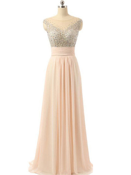 Blush Pink Beaded Chiffon See-through Back Charming Cocktail Evening Prom Dresses Online,PD0181