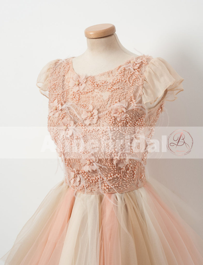 Blush Pink Beaded Handmade Flowers Cap Sleeve Unique Ruffles Homecoming Dresses,BD00227