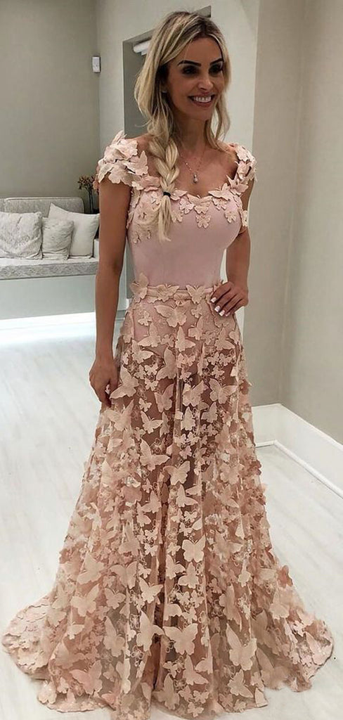 Blush Pink Butterfly Applique Cap Sleeve Prom Dresses.PD00235