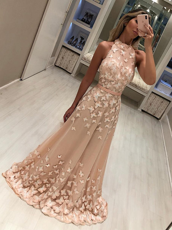 Blush Pink Butterfly Applique High Neck A-line Long Prom Dresses.PD00248