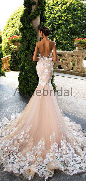 Blush Pink Lace Applique Backless Mermaid Wedding Dresses, AB1501