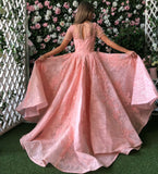 Blush Pink Lace Appliques Short Sleeves Long Prom Dresses,PD00149